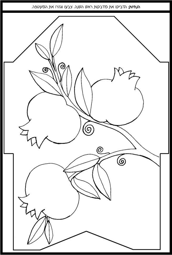Rosh Hashanah coloring page featuring pomegranates (Hebrew: rimonim)