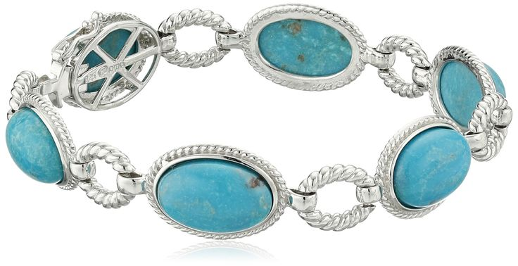 """Sterling Silver Oval Genuine Stabilized Turquoise Link Bracelet, 7.25"""". Sterling silver bracelet featuring 6 oval genuine stabilized turquoise stones with rope textured links. Gemstones may have been treated to improve their appearance or durability and may require special care. The natural properties and composition of mined gemstones define the unique beauty of each piece. The image may show slight differences to the actual stone in color and texture. Imported."""
