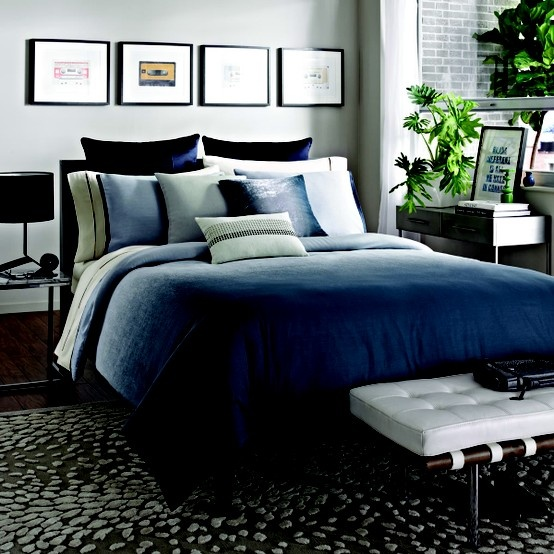 The clean smart lines and inky blues of this comforter from Kenneth Cole Reaction Home will bring fresh and invigorating style to any bedroom. #bedding #KCRH