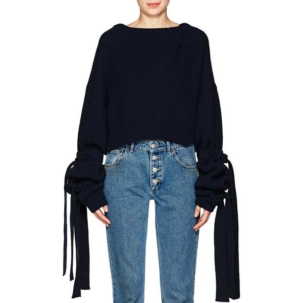 Stella McCartney Women's Cashmere-Wool Crop Hooded Sweater ($960) ❤ liked on Polyvore featuring tops, sweaters, navy, embellished sweaters, navy blue crop top, long sleeve crop sweater, blue crop top and extra long sleeve sweater