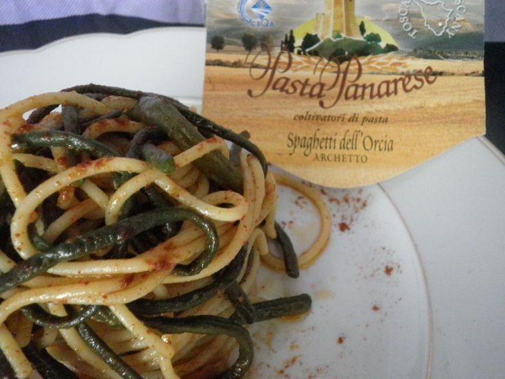 Spaghetti dell'Orcia con fagiolini metro e peperoncino dolce