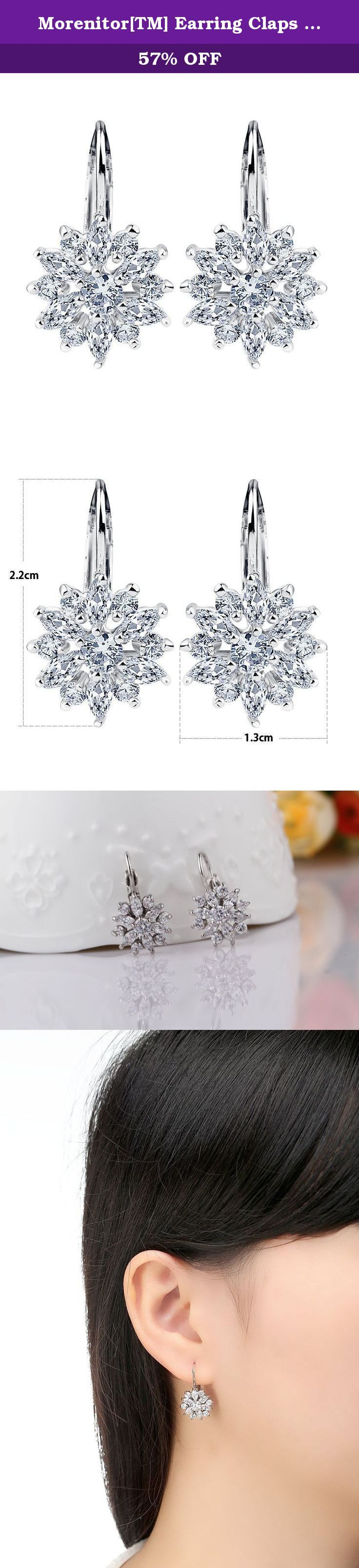 Morenitor[TM] Earring Claps 18K Gold Plated Cubic Zircon CZ Snowflake Stud Earrings For Girls. (Silver). Product Feature: Item Type:Jewelry Earrings Fine or Fashion:Fashion Gender:Women Material:White Gold plated Brass + AAA Cubic zirconium CZ.. Occasion:Wedding,Party,Daily Wearring Packing: One Pair Earring. Free Shipping by ePacket, Arrive in 7-15 days. About Meterial of Products It uses the environmental protection material quality. All the items undergoes numerous checks before it on...