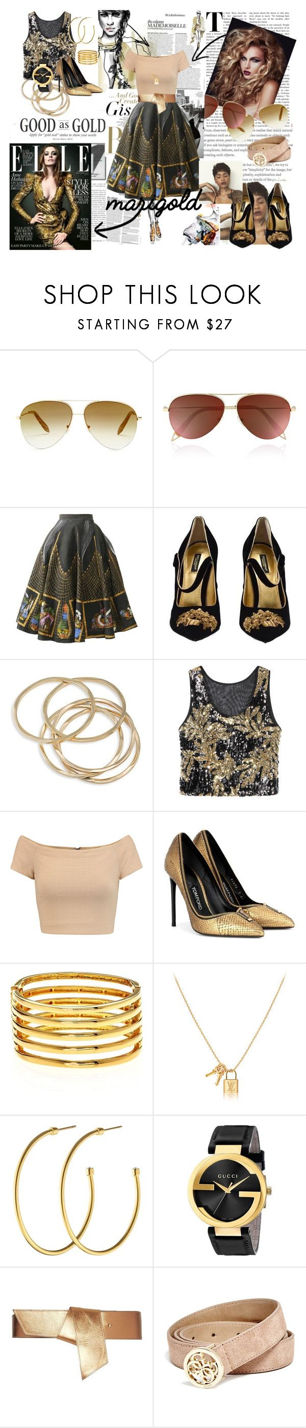 """Golden"" by hermosa-atkins on Polyvore featuring Victoria Beckham, Dolce&Gabbana, ABS by Allen Schwartz, Alice + Olivia, Tom Ford, Kenneth Jay Lane, Dyrberg/Kern, Gucci, Maison Boinet and GUESS"