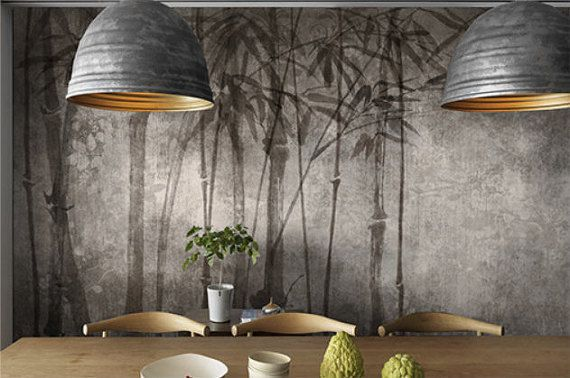 Oosterse Vintage bamboe Wallpaper aquarel inkt en Wash schilderij tak bomen muur muurschildering traditionele Chinese kunst Greyish Black & White