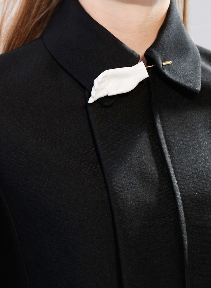 Black jacket collar with ceramic hand pin; chic fashion details // Celine Spring 2015