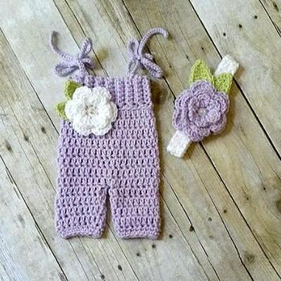Crochet Baby Romper Onesie Flower Headband Set Newborn Infant Photography Photo Prop Baby Shower Gift