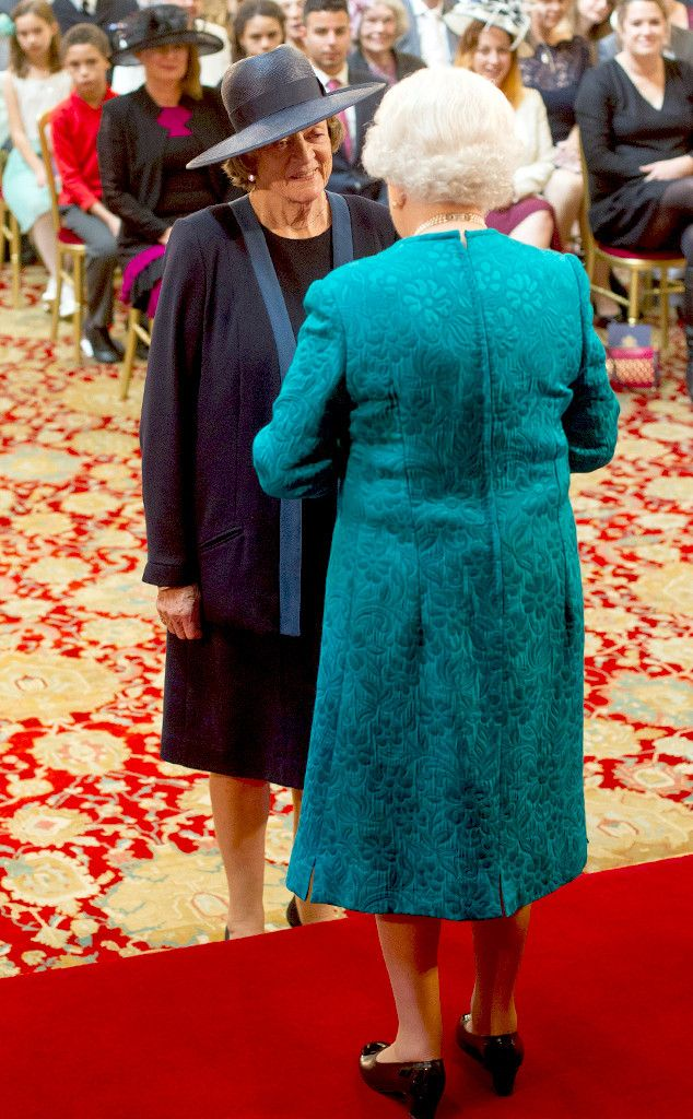 Dame Maggie Smith was honored as a member of the Order of the Companions of Honor in recognition of her 60 years in theater, cinema and TV at a ceremony in Windsor Castle. Queen Elizabeth.