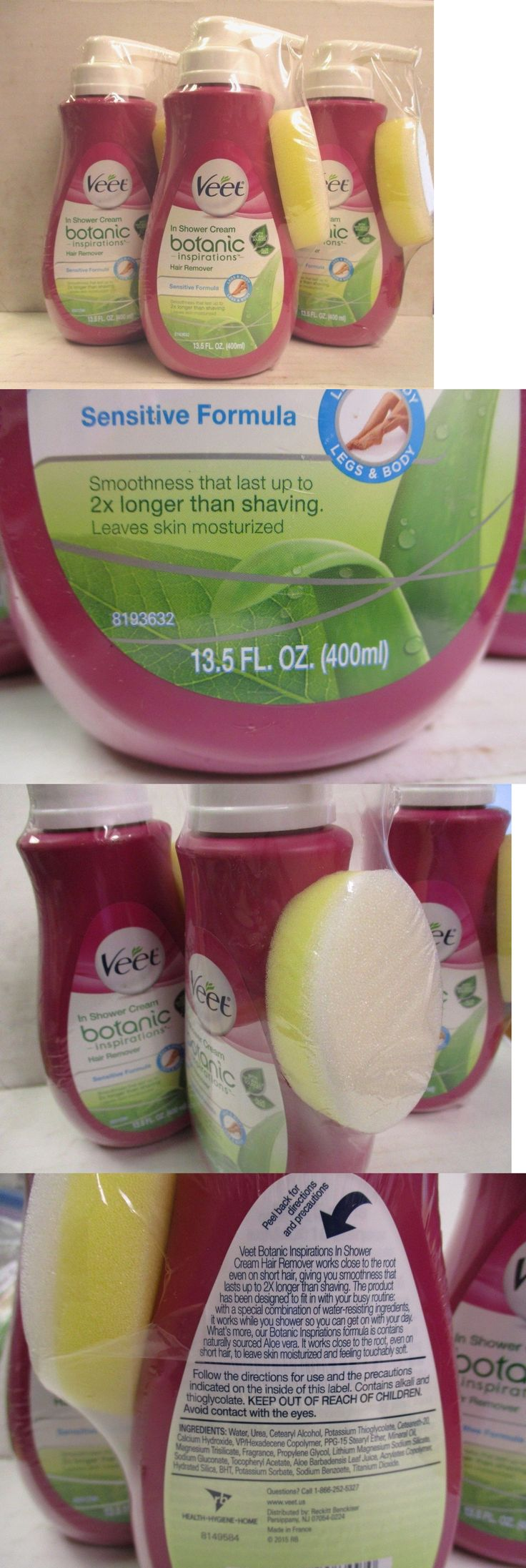 Hair Removal Creams and Sprays: 3 ~ Veet Botanic In Shower Cream Hair Remover 13.5 Oz Each ~ Ew 278Hr BUY IT NOW ONLY: $34.99