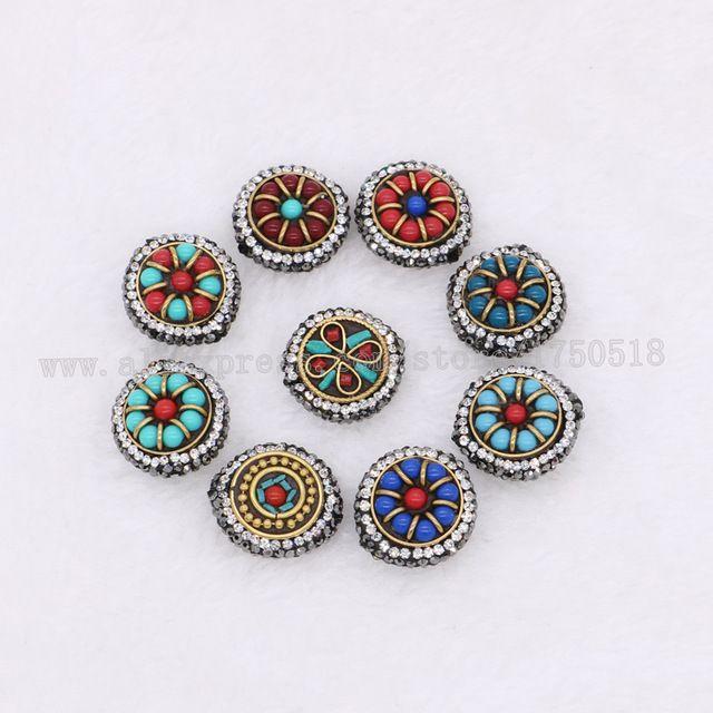 Mix kleur kralen ronde Tibetaanse stijl kant gat druzy vinden handgemaakte sieraden vinden kralen 1455