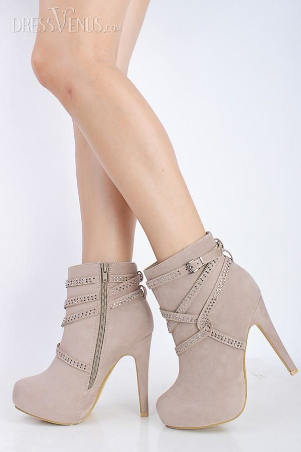 #Discount #Boots #Cute ,Adorable Natural Flocking Closed Toe Rhinestone Stiletto Heel Ankle Boots.