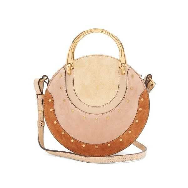 Chloé Pixie small stud-embellished suede cross-body bag ($1,790) ❤ liked on Polyvore featuring bags, handbags, shoulder bags, beige multi, shoulder strap handbags, crossbody purse, crossbody handbag, suede crossbody and chloe purse
