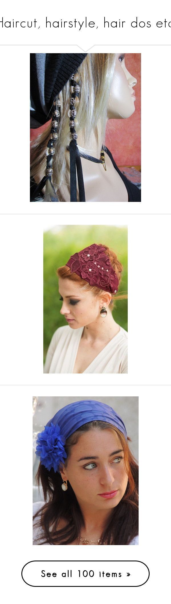 """""""Haircut, hairstyle, hair dos etc."""" by lrdart ❤ liked on Polyvore featuring accessories, hair accessories, black, ties & elastics, hippie headbands, boho headbands, hair extension headband, feather headbands, boho flower headband and maroon"""