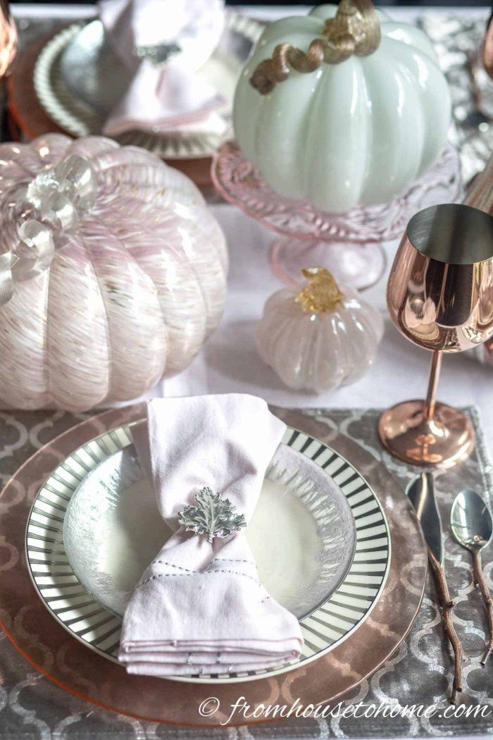 Beautiful Fall Tablescape With Blush Pink Pumpkins