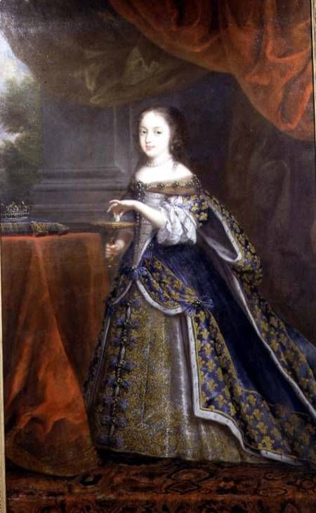 Henriette Anne (daughter of Charles I) wears a mantua with looped over-skirt and decorated under-skirt. Her sleeves have a vestige of the Renaissance hanging sleeve. Her skirt is sufficiently full to suggest that some sort of hoops were used to support it