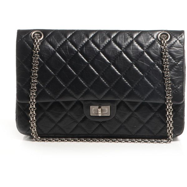 CHANEL Aged Calfskin 2.55 Reissue 226 Flap Black ❤ liked on Polyvore featuring bags, handbags, shoulder bags, chanel, chanel shoulder bag, flap shoulder bag, chain shoulder bag and black purse