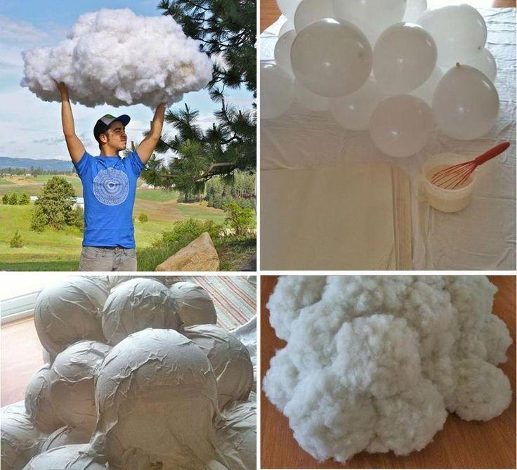 Nuvens artificiais, lindas para decoração de eventos... :)  Balões ( bexigas, bolas de soprar) cheios, darão o formato e tamanho. Em seguida, cobertos por camada  s de papel e cola... depois revestida de algodão...  Detalhes, aqui:  http://thefarmchicks.typepad.com/farmchicks/2012/07/how-to-make-a-cloud.html