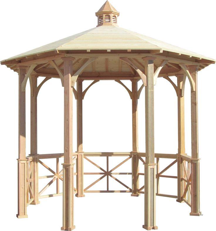 SamsGazebos 10' Octagon English Cottage Wood Garden Gazebo with Cupola