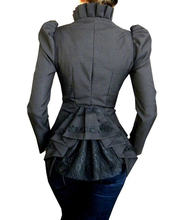 Woah. I just slapped a hand over my mouth. I am FEELING this Victorian inspired jacket. The bustle and detailing? The high collar? I honestly can't even be mad at the puffed sleeves - a girl with swag could really carry it off.
