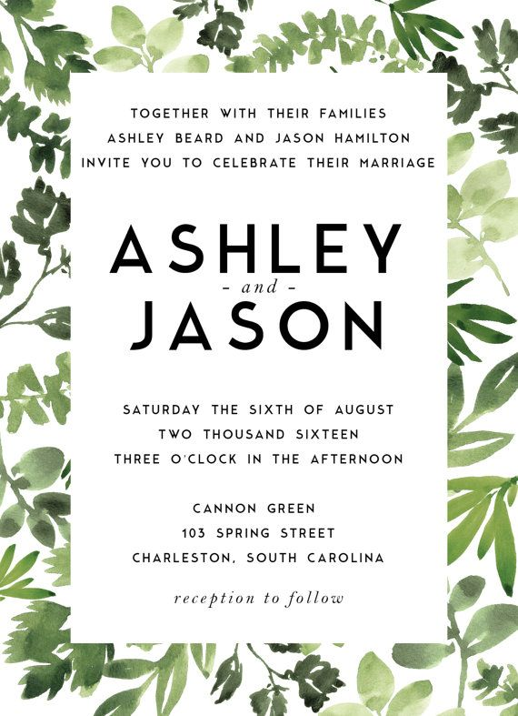 This listing is for a ready-to-print, personalized, digital wedding invitation suite with a modern water-colored botanical design in high
