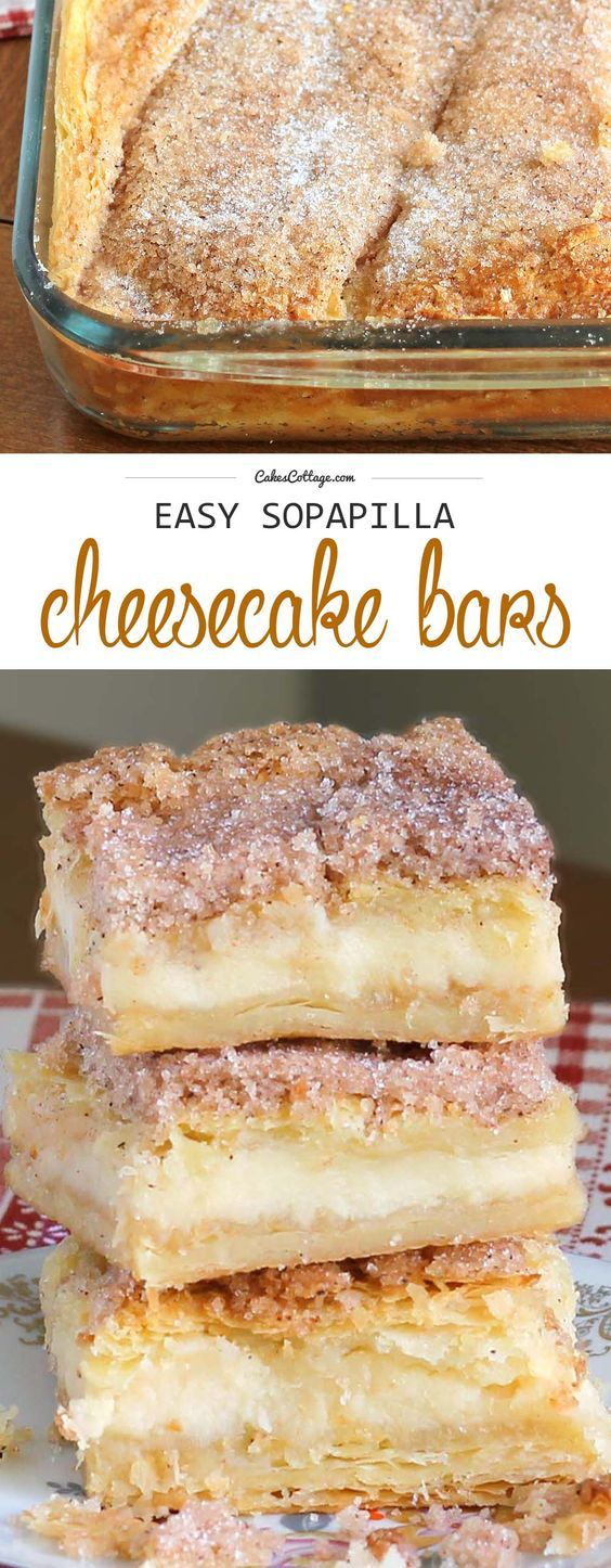 This version of sopapilla cheesecake bars is quick and easy with minimal effort. It starts and ends with Crescent Rolls, with simplest cheesecake filling. GOOD TIMES.: