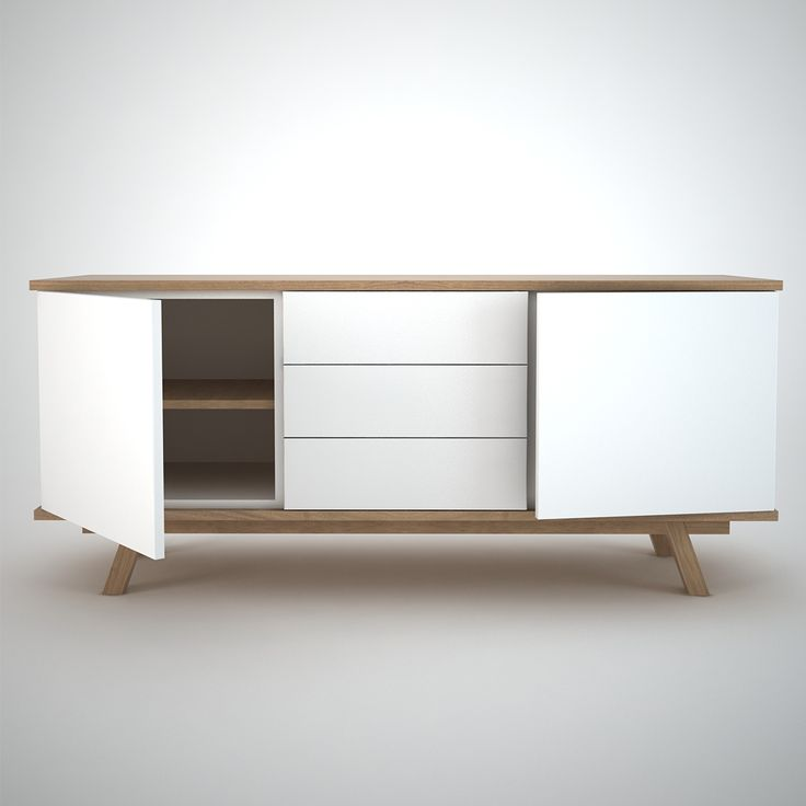 White and Oak Contemporary Sideboard.  2 Doors and 3 drawers version.