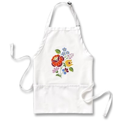 Authentic Hungarian Kalocsai embroidery design on apron $19.52 #kalocsai #Hungary #embroidery #apron