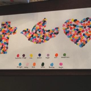 Cute classroom activity for preschoolers - faith, hope, and love (each student is a fingerprint)