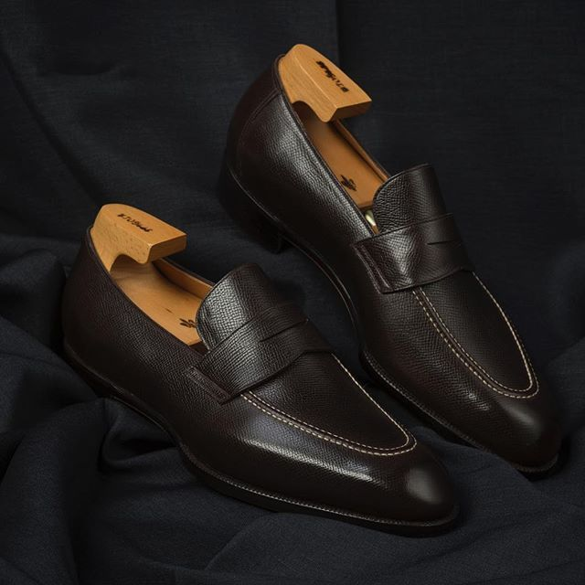 """The #spigola penny loafer in Italian """"shrink"""" leather. Come by today and tomorrow to place your order from #kojisuzuki at #thearmoury"""