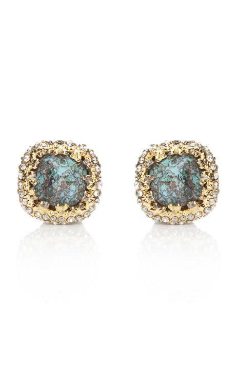 ALEXIS BITTAR turquoise cushion cut encrusted earrings