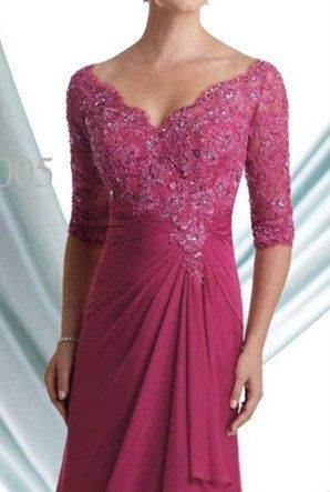 Mother of the bride dresses noble magenta Half-sleeve V-neck formal evening gown Chiffon on Etsy, $139.00