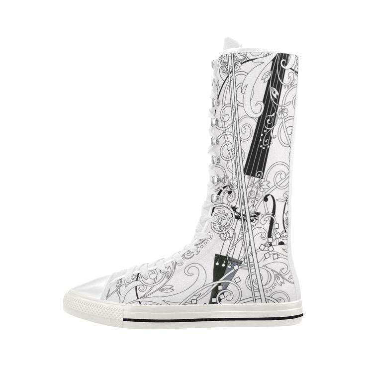Violin Print Sneaker Shoe Boots By Juleez Canvas Long Boots For Women Model 7013H.Violin Print Sneaker Shoe boots By Juleez