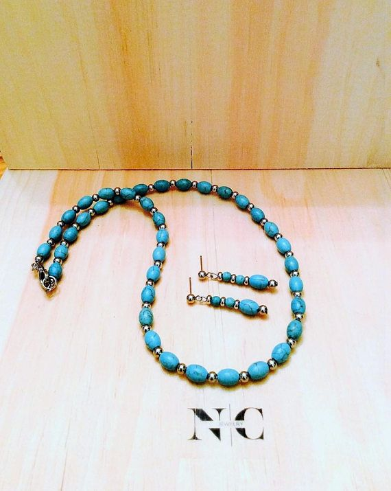 NC Jewelry Turquoise Necklace  Turquoise Jewelry  Stainless