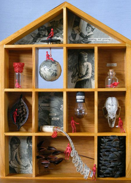 Nesting instinct, detail, 2009 mixed media sculpture incorporating collage Assemblage by Patricia Denis #patriciadartist