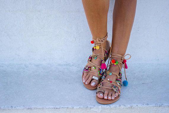 fb6285df5ddac RiRiPoM, Boho Sandals, Pom Pom Sandals, Tassels Sandals, Gold ...