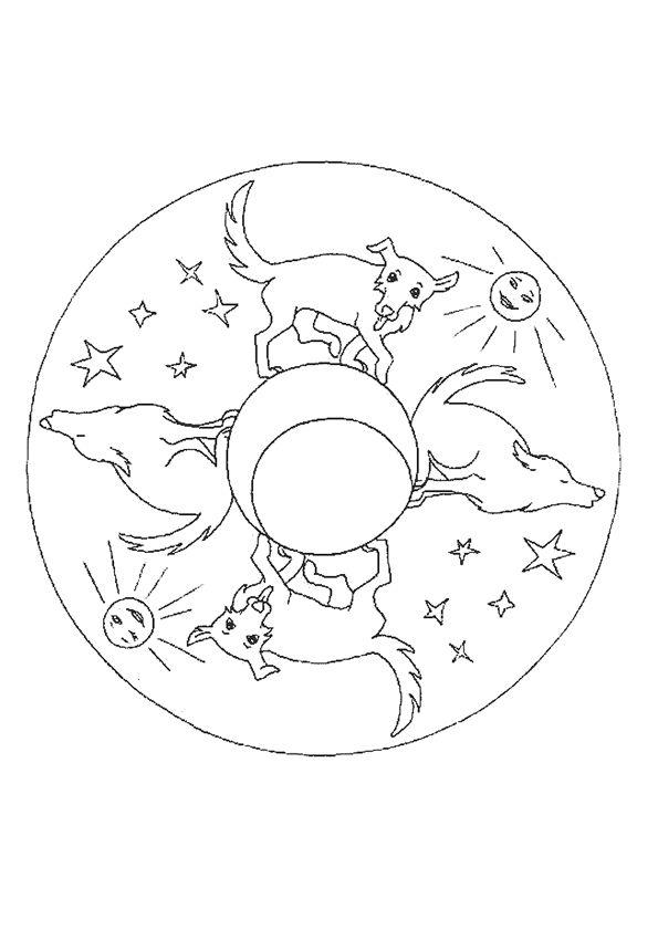 Coloriage mandala loup lune sur Hugolescargot.com - Hugolescargot.com