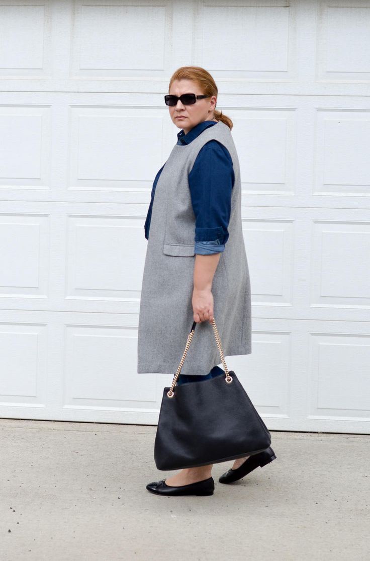 Denim on denim outfit, long west, Chanel, Gucci, Casual, curvy fashion blogger for women over 35,