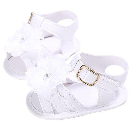 LINKEY Baby Girls Summer Strappy Sandals Flower Slingback Beach Flat Shoes White Size S >>> Check out this great product.-It is an affiliate link to Amazon. #BabyShoes