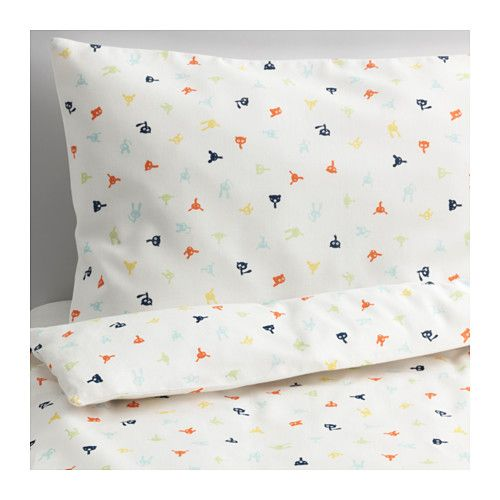 IKEA - STJÄRNBILD, Crib duvet cover/pillowcase, , A durable duvet cover of polyester and cotton with playful patterns in the form of small figures. Soft against your child's skin, and it gets softer after each wash.
