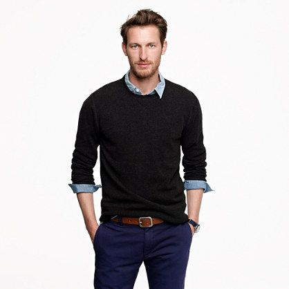 Sweater over dress shirt rolled sleeves fashion