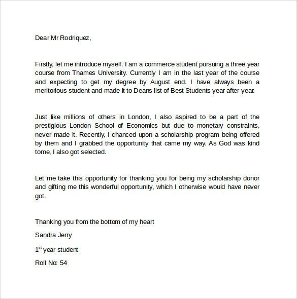 Appreciation Letter To Scholarship Donor Awesome Sample Thank You