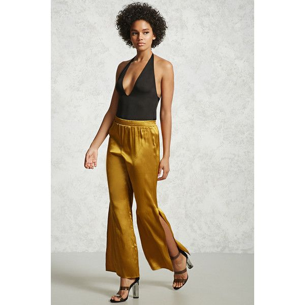 Forever21 Satin Palazzo Pants ($23) ❤ liked on Polyvore featuring pants, mustard, forever 21 pants, forever 21, mustard yellow pants, palazzo pants and satin trousers