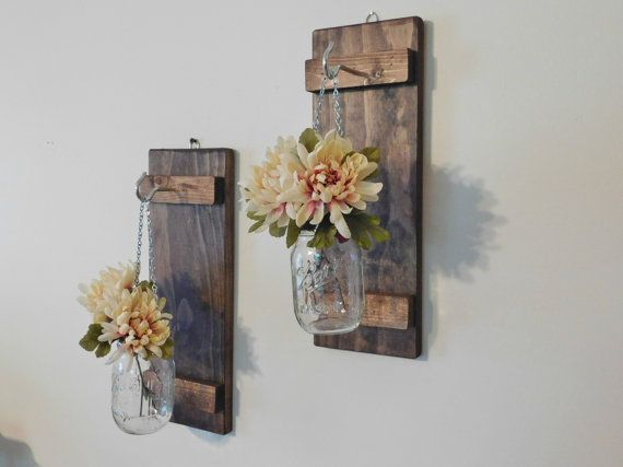 Hanging Mason Jar Wall Sconce Flower Vase Candle Sconce Wall Mounted Rustic Decor
