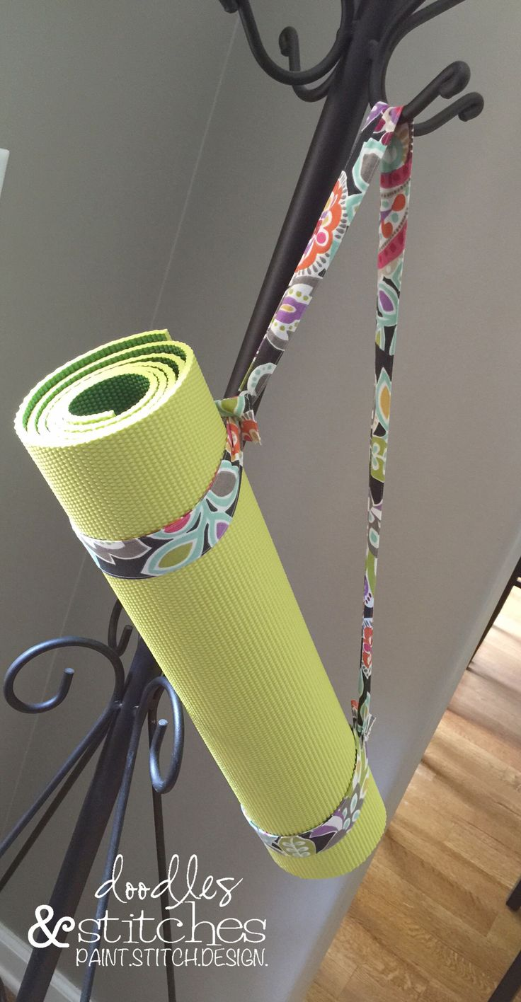 This will keep my yoga mat rolled up and make it so much easier to carry! Easy tutorial with photos. 20 minute project- start to finish.