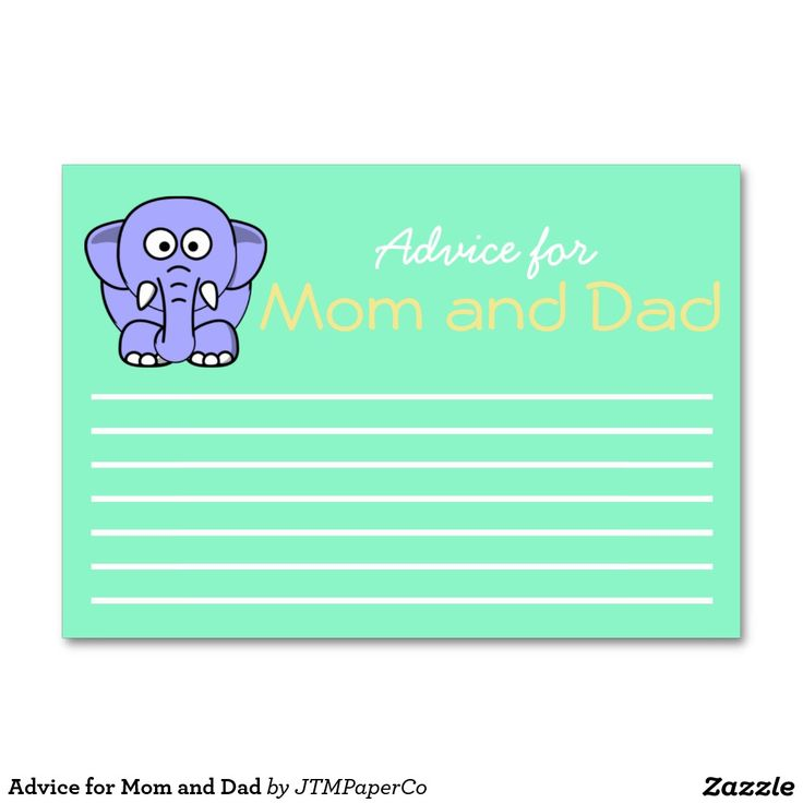Advice for Mom and Dad Baby Shower Game in Green White and Yellow with Elephant Logo. These are perfect for a gender neutral baby shower.  These can be used as a game, take home for the mom-to-be, decor, tablescape and more! These cards can also be customized with the parents last name. Click to shop the baby shower collection and coordinating items from JTMPaperCo.