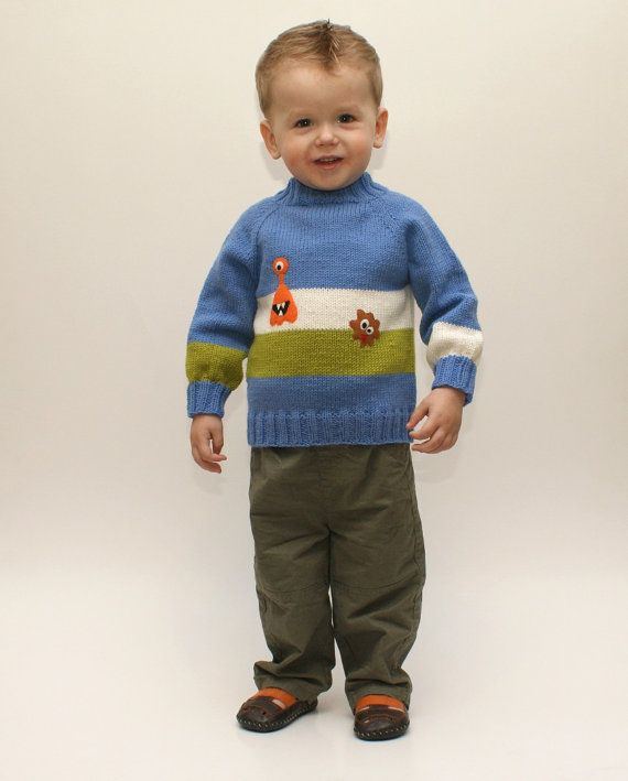 Little monster sweater knitted boy sweater blue baby by Tuttolv, $52.00