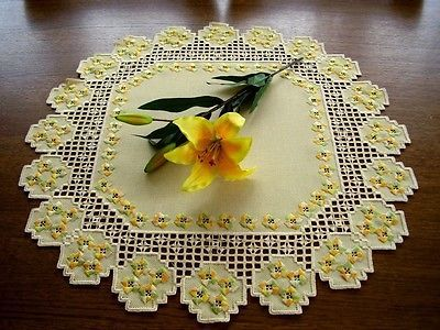 Hardanger Embroidery A Springtime Dream Handmade Yellow Doily with Flowers | eBay