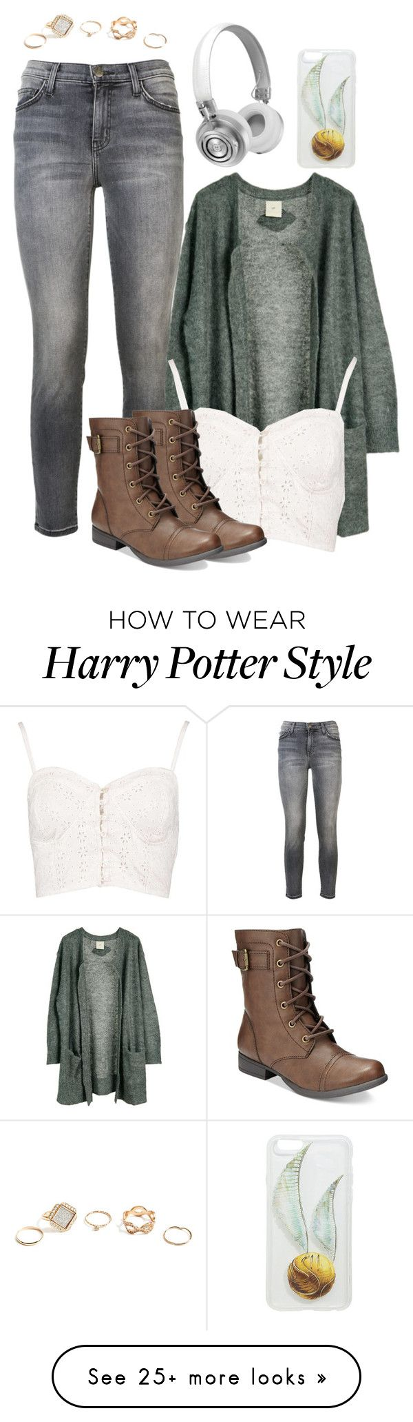 """Out"" by goldengryffindorgal on Polyvore featuring Current/Elliott, Julie Fagerholt Heartmade, Boohoo, American Rag Cie, GUESS and Master & Dynamic"