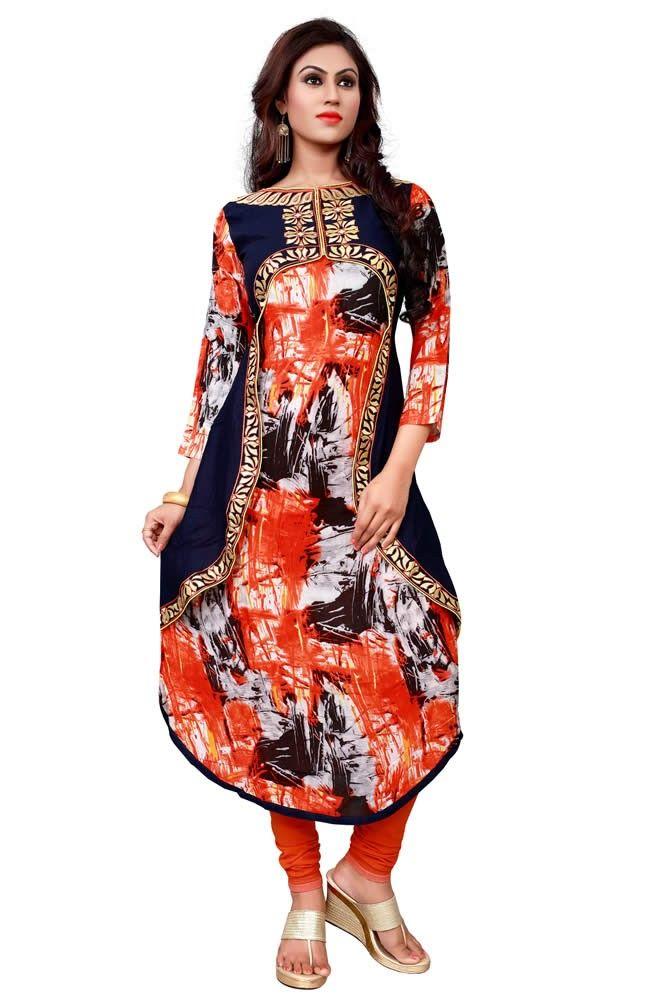 Multi Colour Reon Cotton Koti Style Long Kurti Buy Sarees