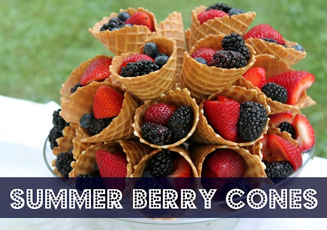 berries served in waffle cones...cute fresh fruit!: French Press, Berries Cones, Recipe, Food, Summer Berries, Party Idea, Cottages Homes, Waffles Cones, Ice Cream Cones