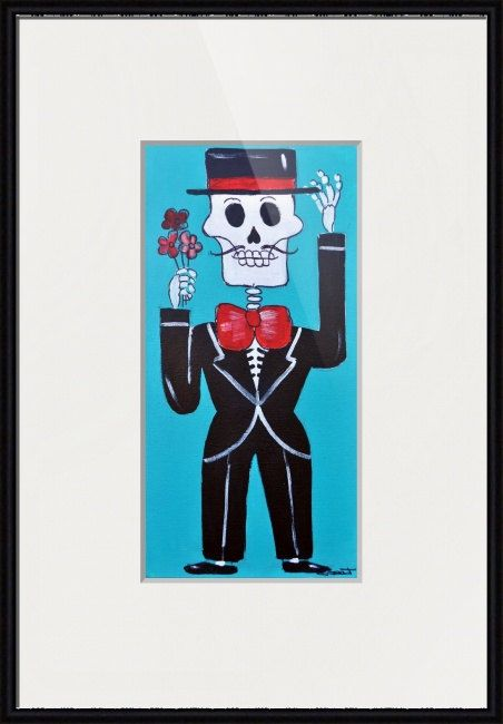 Muerto Guapo Day of the Dead Groom Folk Pop Art Giclee by Latinpop
